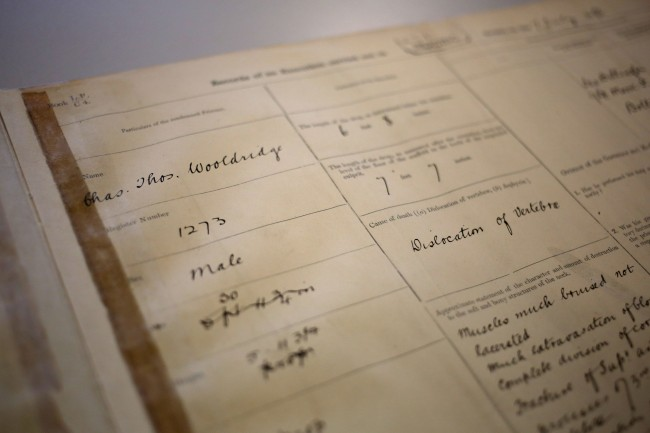 A register of executions carried out in Reading prison opened to the page on prisoner Charles Wooldridge's execution, the soldier was hanged in Reading in 1896 for murdering his wife.