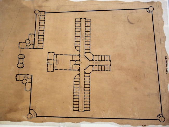 A view of ground plans of the first floor of Reading Prison from 1844, where poet Oscar Wilde was believed to be held in either cell number 3 or 5 of the prisons 'C Wing'.