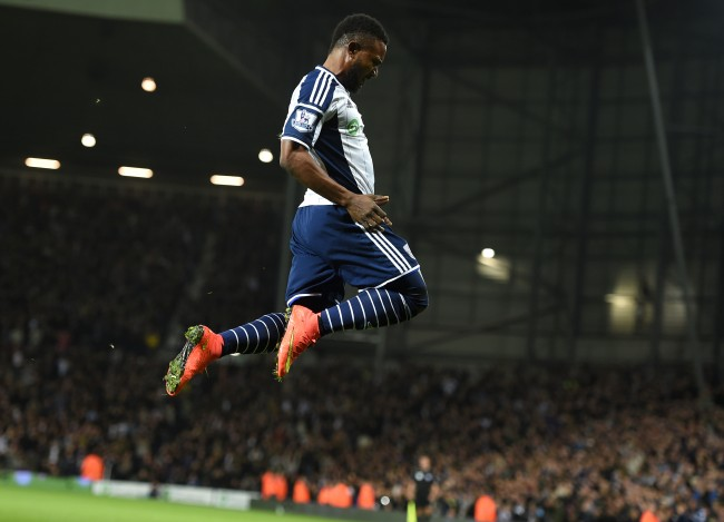 West Bromwich Albion's Stephane Sessegnon celebrates scoring his sides first goal of the game during the Barclays Premier League match at The Hawthorns, West Bromwich.