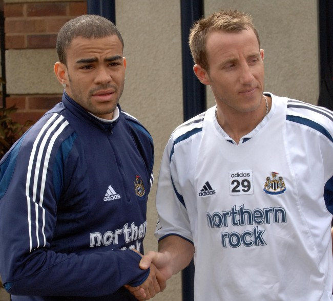 Newcastle United's Kieron Dyer and Lee Bowyer shake hands after being sent off for fighting each other in a brawl during Newcastle's match against Aston Villa on Saturday. Date: 04/04/2005