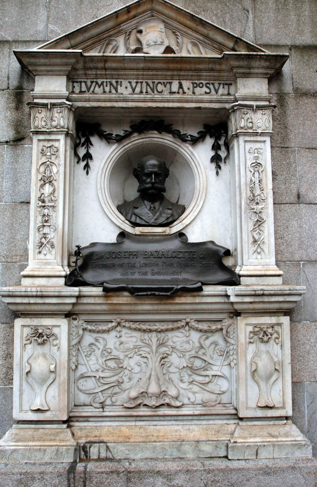 Memorial on London's Victoria Embankment to Joseph Bazalgette, 1819 - 1891, engineer of the London main drainage system and Victoria Embankment.