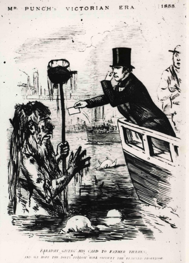 "ndated handout photo of a Punch magazine cartoon from July 21, 1855 showing the British chemist and physicist Michael Faraday meeting Father Thames. 150 years on from the ""Great Stink"
