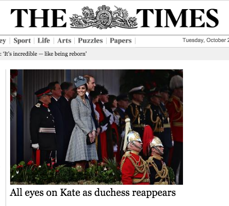 Screen shot 2014 10 21 at 20.52.55 As If By Magic Pregnant Kate Middleton Reappears