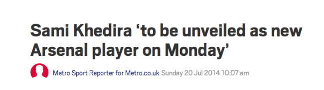 The Metro says Khedira joined Arsenal in July