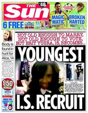 The Sun 1 10 2014 Yusra Hussein: Islamic State Paedophiles Groom British Teens