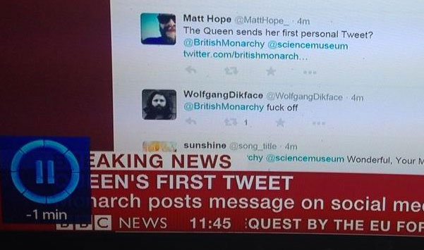queen FAIL: The BBC Takes A Closer Look At The Queens First Tweet