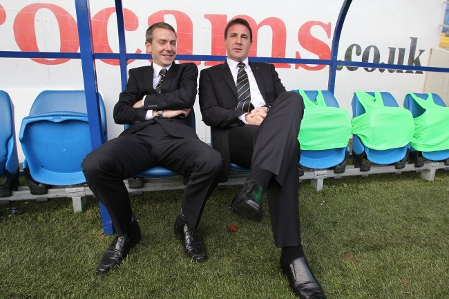 Cardiff City manager Malky Mackay with player recruitment staff member Iain Moody (left) before the game