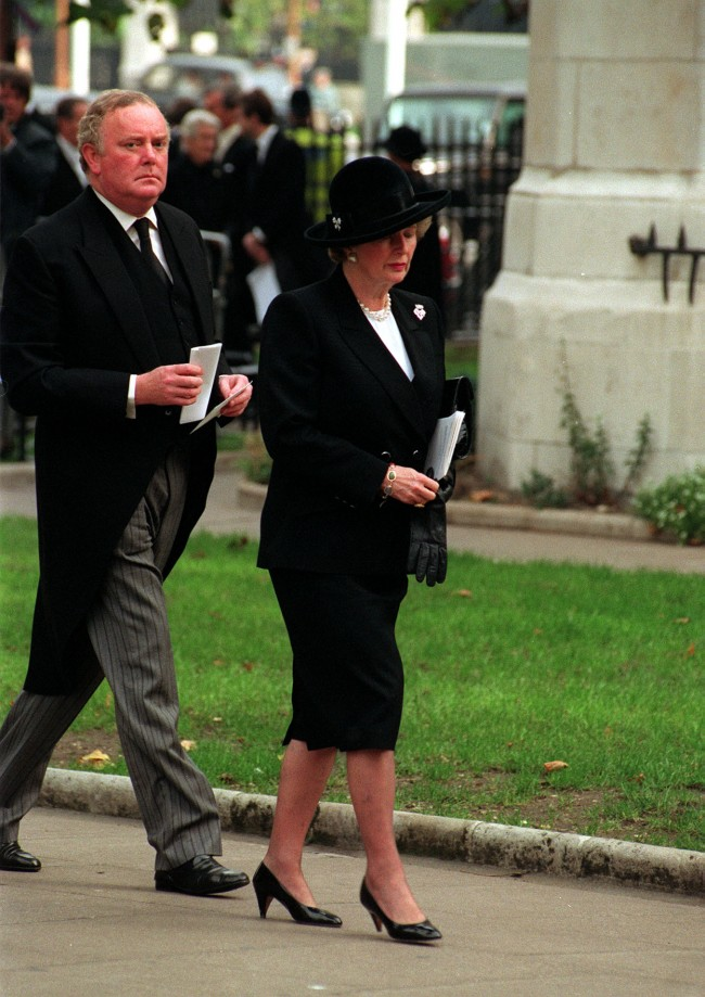 Prime Minister Margaret Thatcher with her private secretary Peter Morrison arriving for the Ian Gow memorial service at St. Margaret's, Westminister, London. Ref #: PA.1443751  Date: 22/10/1990