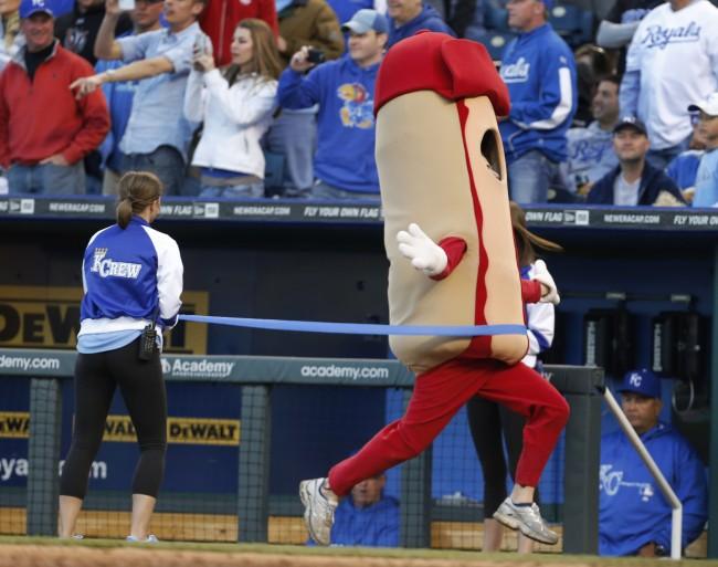 Ketchup wins the hot dog race during a baseball game between the Toronto Blue Jays and Kansas City Royals at Kauffman Stadium in Kansas City, Mo., Saturday, April 13, 2013.(AP Photo/Orlin Wagner) Ref #: PA.16260361  Date: 13/04/2013