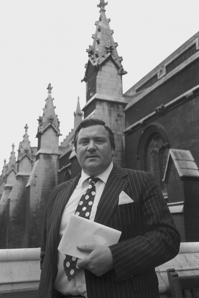 Geoffrey Dickens, Tory MP for Huddersfield West, outside the House of Commons. He is expected to name the diplomat referred to in last week's Paedophile Information Exchange trial in the House today under Parliamentary priviledge. Ref #: PA.20332597  Date: 17/03/1981
