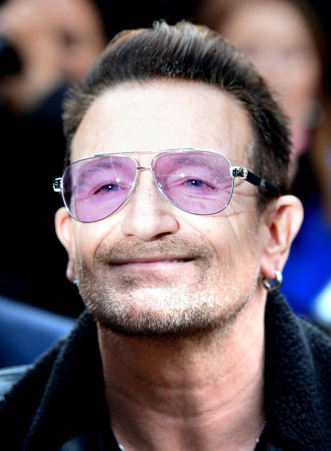 Bono of U2 arrives for the recording of the Band Aid 30 single at Sarm Studios in Notting Hill, London.