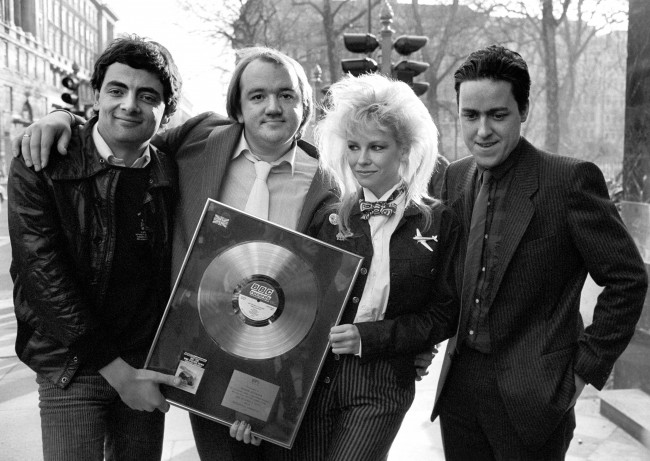 Hedgehog Sandwich is the title of the Not the Nine O'Clock News comedy team's new LP, who were in London busy launching their efforts. From left to right: Rowan Atkinson, Mel Smith, Pamela Stephenson and Griff Rhys Jones. Ref #: PA.4878242  Date: 02/02/1982