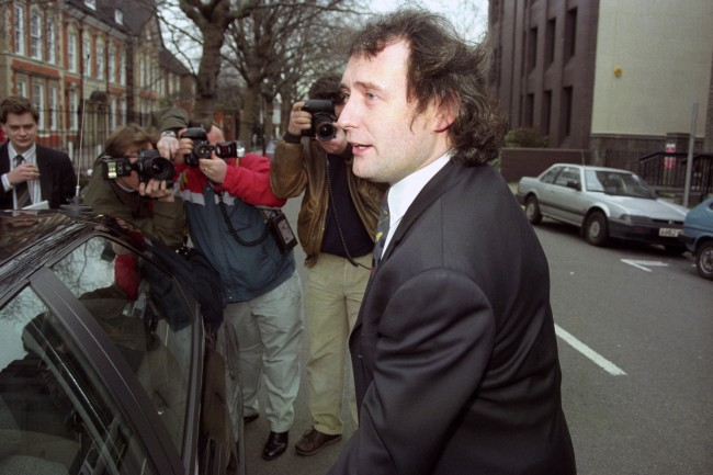 SNOOKER STAR JIMMY WHITE IS CONFRONTED BY THE MEDIA AS HE LEAVES RICHMOND MAGISTRATES COURT IN SOUTH WEST LONDON, WHERE HE APPEARED ON A DRINK-DRIVE CHARGE.  Ref #: PA.828611  Date: 01/03/1994