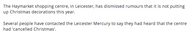 Screen shot 2014 11 14 at 08.18.08 Leicester Mercury Says Haymarket Shopping Centre Has NOT Cancelled Christmas