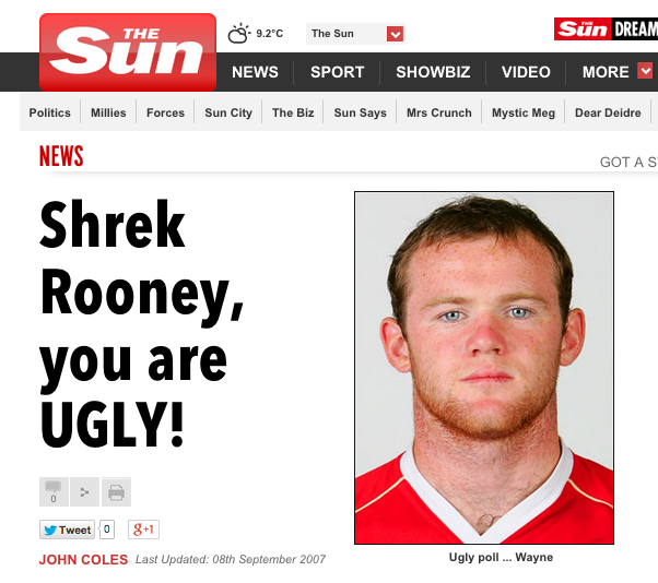 Screen shot 2014 11 20 at 09.34.44 The Sun Says: Sick Footballers Bully Gemma Collins By Comparing Her To Wayne Rooney And Shrek