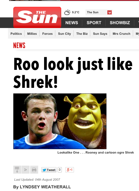Screen shot 2014 11 20 at 09.37.35 The Sun Says: Sick Footballers Bully Gemma Collins By Comparing Her To Wayne Rooney And Shrek