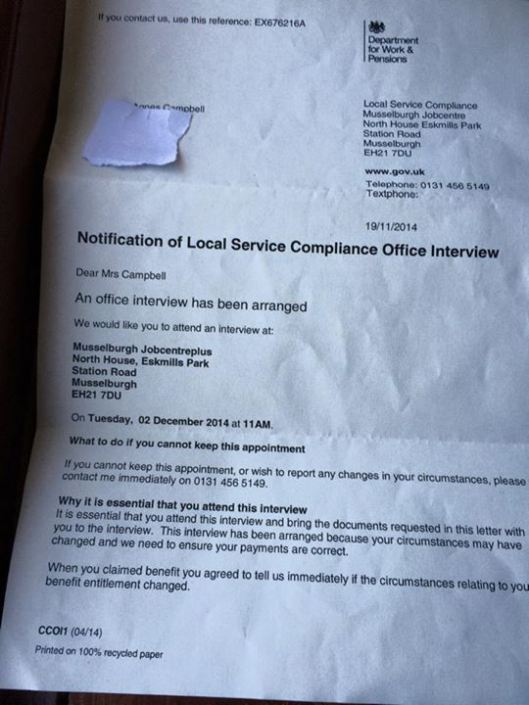 letter 90 year old Department of Work & Pensions Orders 90 Year Old To The Job Centre