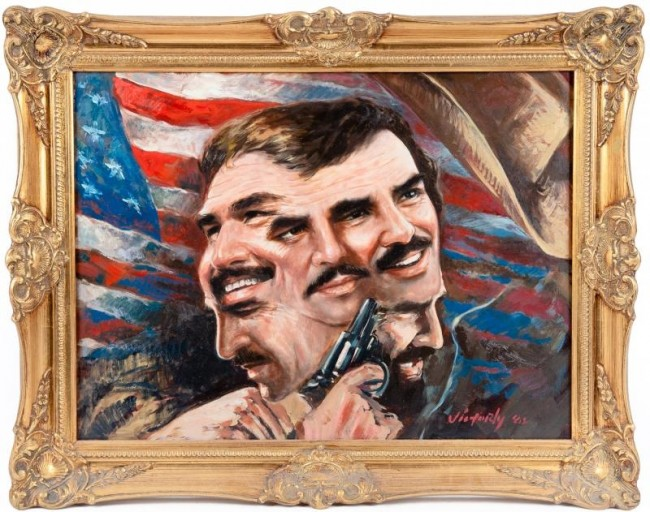 "Estimate: $600 - $800 Starting: $300 ""The Many Faces of Burt,"" oil on artist board, signed by Victor Victori and dated '82 lower right"