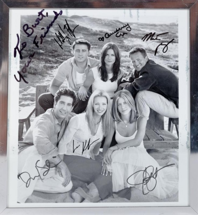 "Estimate: $400 - $600 Starting: $200 A black and white publicity photograph signed by the cast of Friends (NBC, 1994-2004). Inscribed ""To Burt, Your Friends"" and signed by Matt LeBlanc, Jennifer Aniston, Courteney Cox, Lisa Kudrow, Matthew Perry and David Schwimmer."