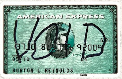 Burt Reynolds voided American Express card, opening bid $100-200