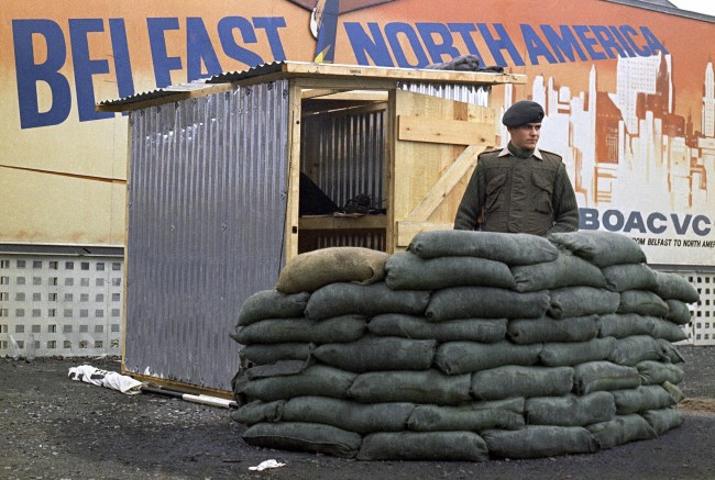 A British soldier in Belfast, Northern Ireland stands outside a new all weather shelter in October 1969. (AP Photo/Peter Kemp)