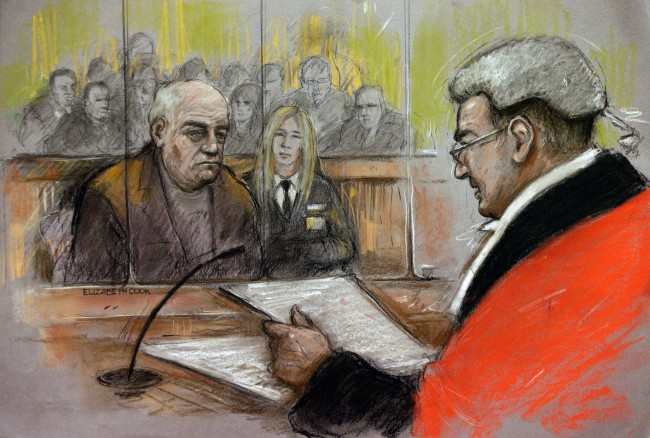 Court artist sketch by Elizabeth Cook of Chris Denning who has been jailed for 13 years for sexually assaulting 24 boys - including one allegedly at Jimmy Savile's house.