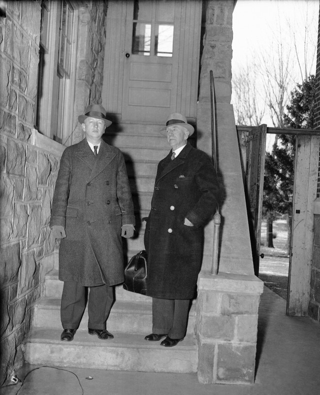 J. Howard Haring, left , and J. Vreeland Haring, Sr., wait to take the stand, as handwriting experts for the state, in the trial of Bruno Richard Hauptmann, accused Kidnap-killer of the Lindbergh baby, in Flemington, N.J., Jan. 14, 1935. The Harings have appeared as handwriting experts in many celebrated cases, among them the Scottsboro case, the Starr Faithfull disappearance case, and the Hall-Mills murder case. (AP Photo) Ref #: PA.9977295