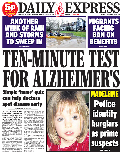 daily express 13 monday january 2014 1 Tabloid Tropes: The Daily Express cured Alzheimers in 2014