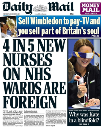 mail nurses Daily Mail story on foreign nurses is utter balls