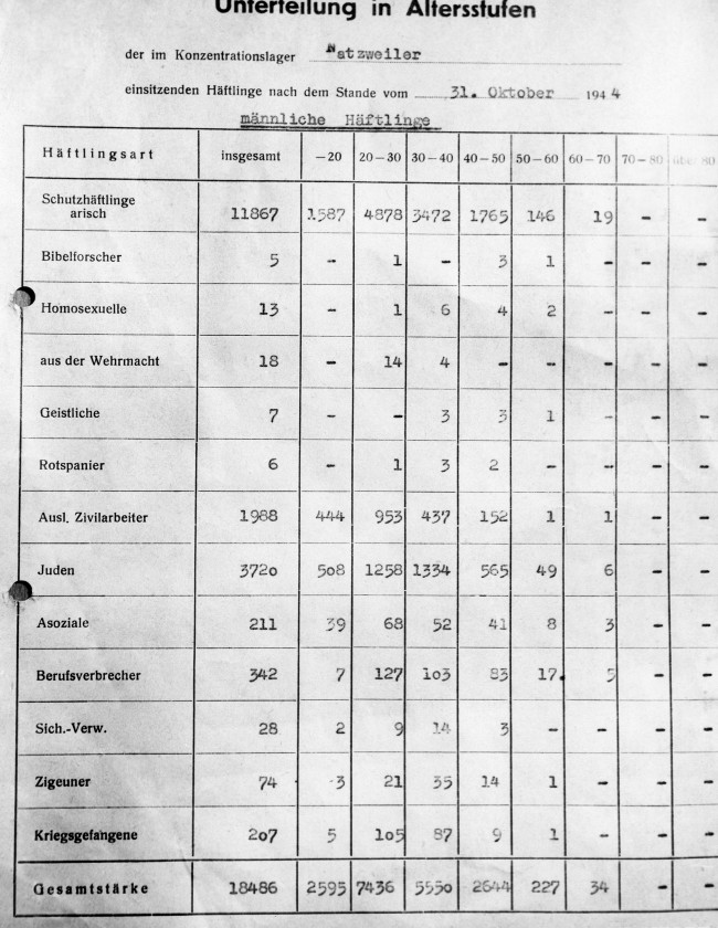 German ledger found in the Natzviller Concentration Camp at Struthof Concentration Camp in Natzviller area, France on Dec. 1, 1944. The ledger subdivides male prisoners by age group and the following types; 1, Aryan; 2, professors; 3, homosexuals; 4, soldiers; 5, priests; 6, Spaniards; 7, foreign civil workers; 8, Jews; 9, socialists; 10, criminals; 11, anarchists; 12, gypsies; 13, prisoners of war. (AP Photo)