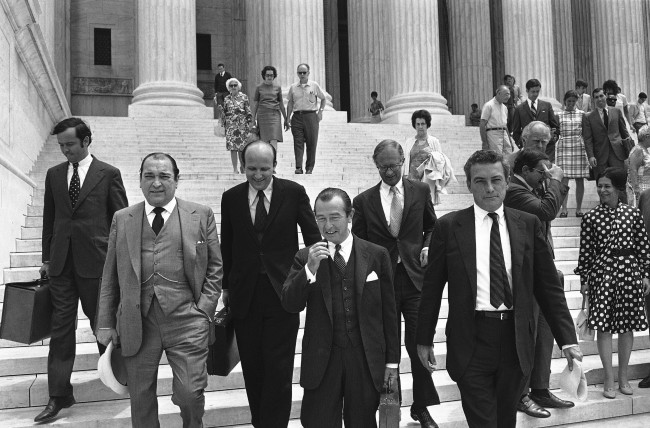 Attorneys for The New York Times leave the Supreme Court in Washington on June 26, 1971 after presenting arguments against the government' suit to prevent The New York Times and The Washington Post from publishing articles on the secret history of the Vietnam War. They are, from left: Lawrence McKay; Floyd Abrams; Alexander Bickel, who presented the Times' case before the court; James Goodale, Times' Vice President and William Heggerty. (AP Photo/Charles Harrity) Ref #: PA.9574895  Date: 26/06/1971