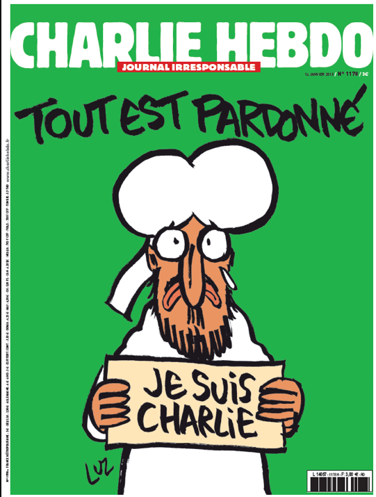 "This week's Charlie Hebdo, featuring Muhammad again! ""All is forgiven."" Love it."