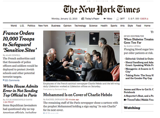 "Michael CalderoneVerified account ‏@mlcalderone NYT runs big news on homepage — ""Mohammed Is on Cover of Charlie Hebdo"" — yet doesn't show that newsworthy cover:"