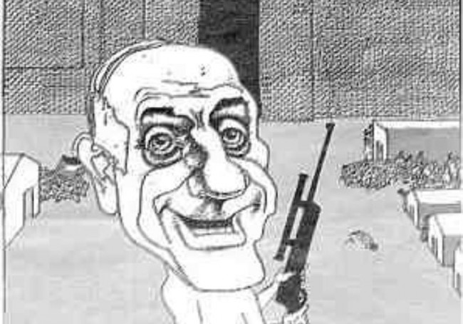 lm Schindler's List, one of Norway's largest newspapers recently published a political cartoon comparing Prime Minster Ehud Olmert to the infamous commander of a Nazi death camp who indiscriminately murdered Jews by firing at them at random from his balcony. The caricature by political cartoonist Finn Graff appeared on July 10 in the Oslo daily Dagbladet. It has prompted outrage among the country's small Jewish community and led the Simon Weisenthal Center to submit a protest to the Norwegian government. In the cartoon, Olmert is likened to SS Major Amon Goeth, the infamous commandant of the Plaszow death camp outside of Krakow, Poland, who was convicted of mass murder in 1946 and hanged for his crimes. While in charge of Plaszow, Goeth would go out to the balcony on his villa, and engage in target practice by aiming his telescopic rifle and firing at random at Jews imprisoned there, often killing them. The scene was famously depicted by director Steven Spielberg in his 1993 film, Schindler's List..