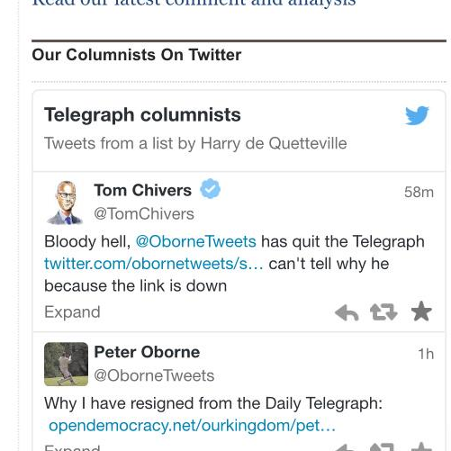 Peter Oborne resigns
