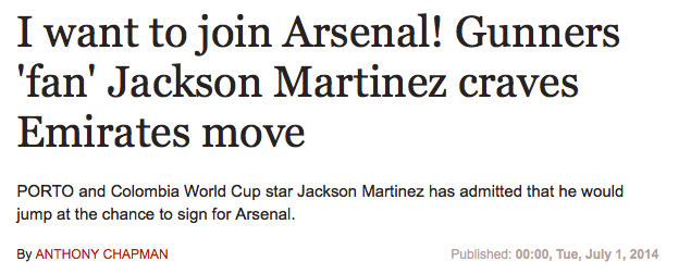Jackson Martinez Arsenal, Spurs Liveprool