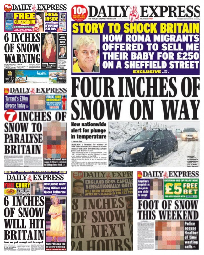 daily express snow inches