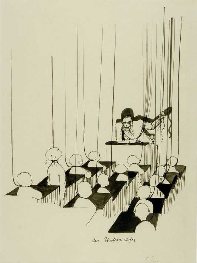 Der Unterrichter (The Teacher), c. 1980 (drawing for Rigor Mortis, published in 1983 by Diogenes Verlag AG, Zürich)