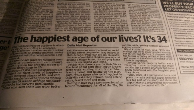 daily mail happiest age of life