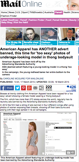 American apparel banned advert daily mail