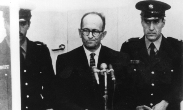 1961:  Austrian Nazi war criminal Karl Adolf Eichmann (1906 - 1962) on trial in Jerusalem.  (Photo by Central Press/Getty Images)