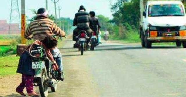 dad india bike school arrested child