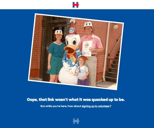 Hillary Clinton's 404 Page