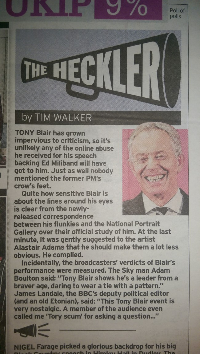 DAily Mirror Tony Blair