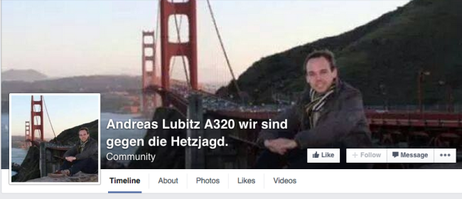 Andreas Lubitz framed facebook