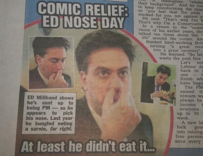 ed miliband picks nose