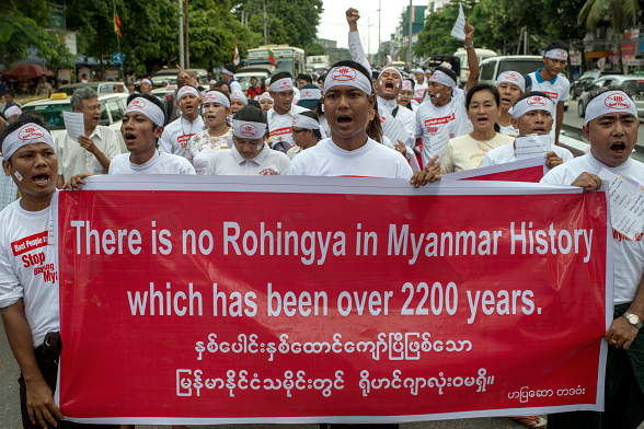 Buddhist nationalists demonstrate against the UN and the return of Rohingya Muslims May 27, 2015 in Yangon, Burma. Radical Buddhist nationalists protest the international pressure on Myanmar to accept the repatriation of persecuted Rohingya boat refugees.