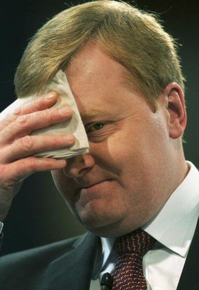Charles Kennedy leader of The Liberal Democrats wipes his brow during his speech at the party conference on September 22, 2005 in Blackpool, England. During a passionate speech Mr Kennedy pledged to lead his party into the next election and called on prime minister Tony Blair to make a timetable of the withdrawl of British troops from Iraq.