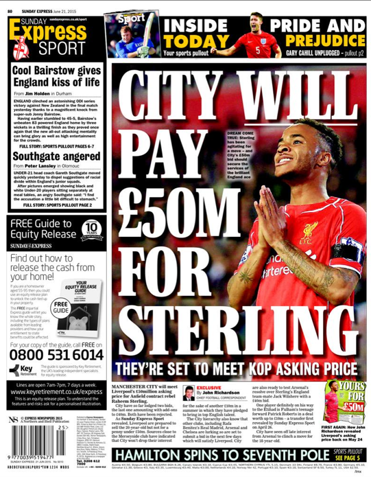 sterling raheem liveprool £50m Manchester City