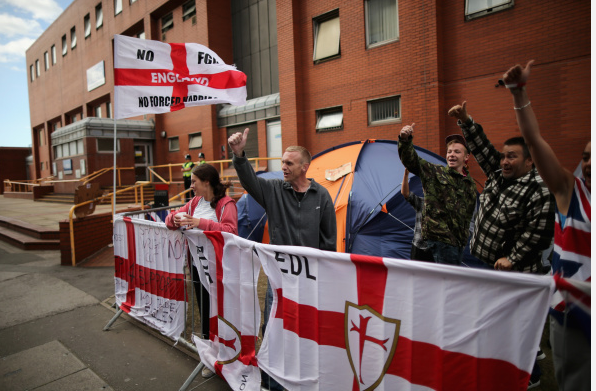 Members of the EDL (English Defence League) hold a demonstration calling for the resignation of South Yorkshire Police and Crime Commissioner Shaun Wright outside the police station on September 1, 2014 in Rotherham, England.